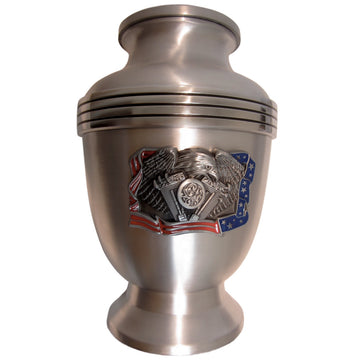 Patriotic Military 3-Ring Aluminum Cremation Urn Shown with 3D Solid Metal Medallion - 857