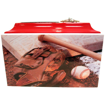 Red Baseball Fiberglass Box Cremation Urn Shown with Crucifix - 106