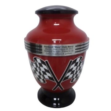 Red Checkered Flag Motorcycle 3-Ring Aluminum Cremation Urn - 200