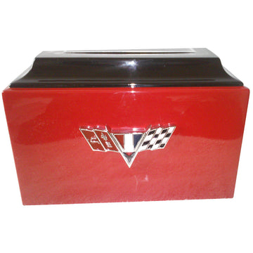 Red Chevy Camaro Fiberglass Box Cremation Urn Shown with Custom Metal Plate  - 219