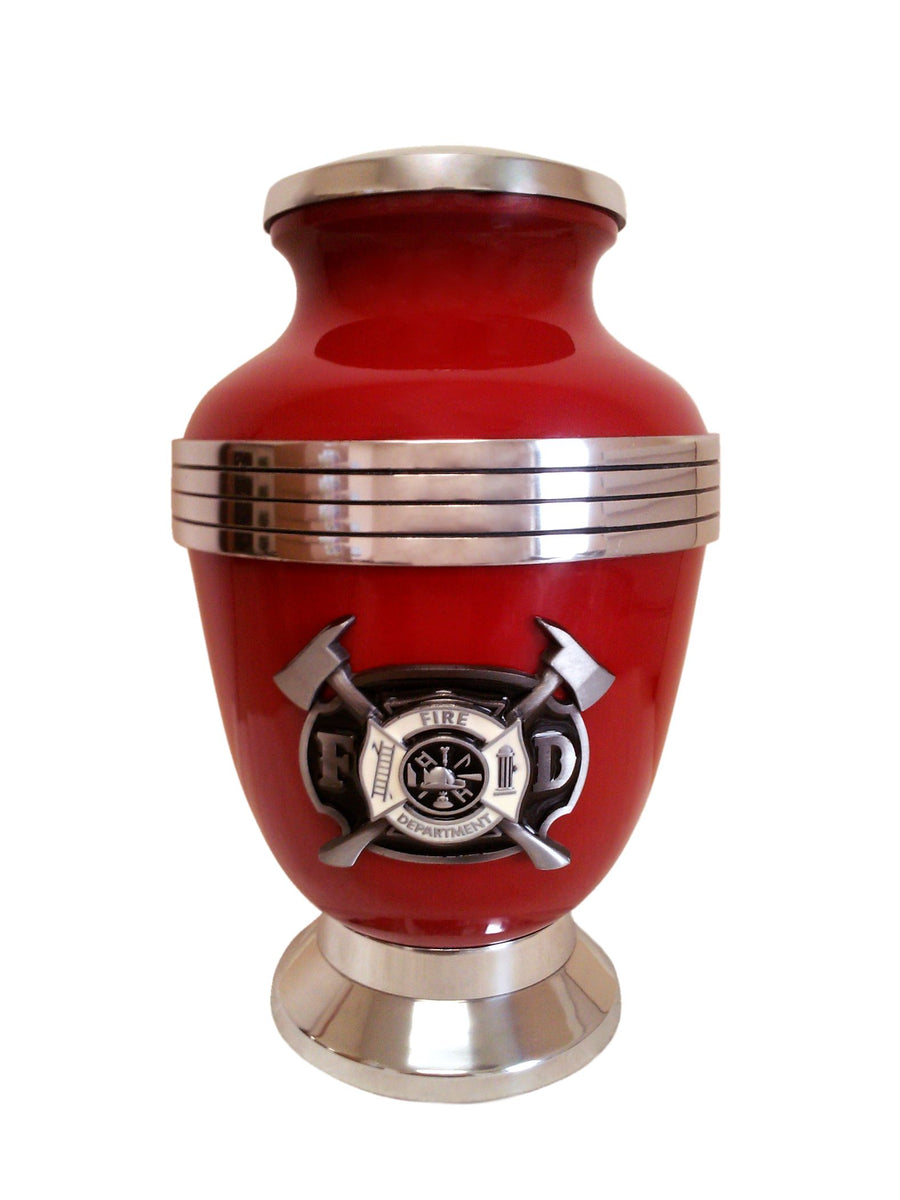 Red Firemen 3-Ring Aluminum Cremation Urn Shown with 3D Solid Metal Medallion- 217
