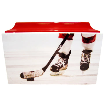 Red Hockey Fiberglass Box Cremation Urn - 107