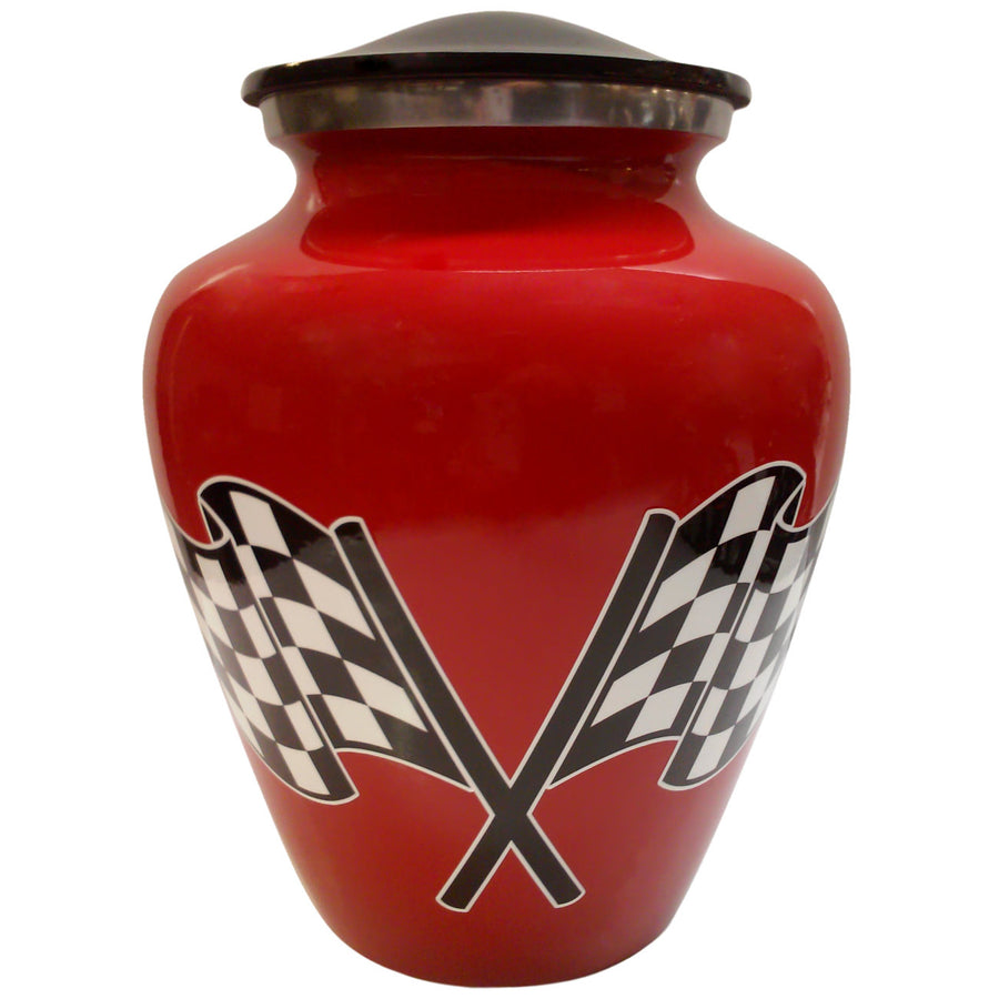 Red Racing Flag Motorcycle Niche Cremation Urn - 207