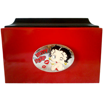 Red & Black Betty Boop Fiberglass Box Cremation Urn Shown with Medallion - 328
