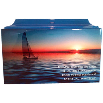 Sailing Fiberglass Box Cremation Urn - 879
