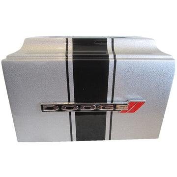 Silver Dodge Fiberglass Box Cremation Urn Shown with Custom Metal Plate  - 221