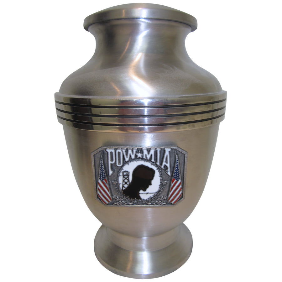 Brushed Aluminum POW-MIA 3-Ring Aluminum Cremation Urn Shown with 3D Metal Medallion - 867