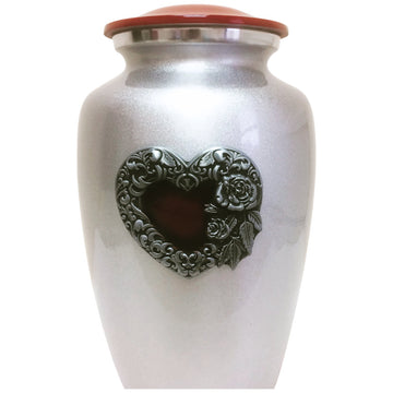 Silver & Red Heart Classic Vase Cremation Urn - 619