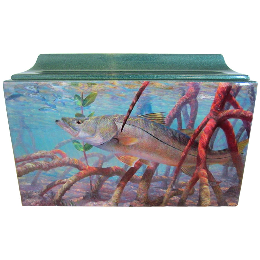 Snook Fishing Fiberglass Box Cremation Urn Shown with Oversized Nameplate - 819