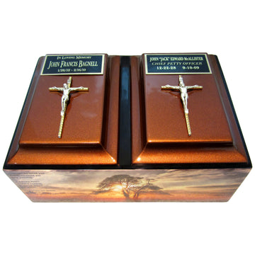 Someone is Missing Poem Companion Fiberglass Box Cremation Urn Shown with optional Crucifixes and 2