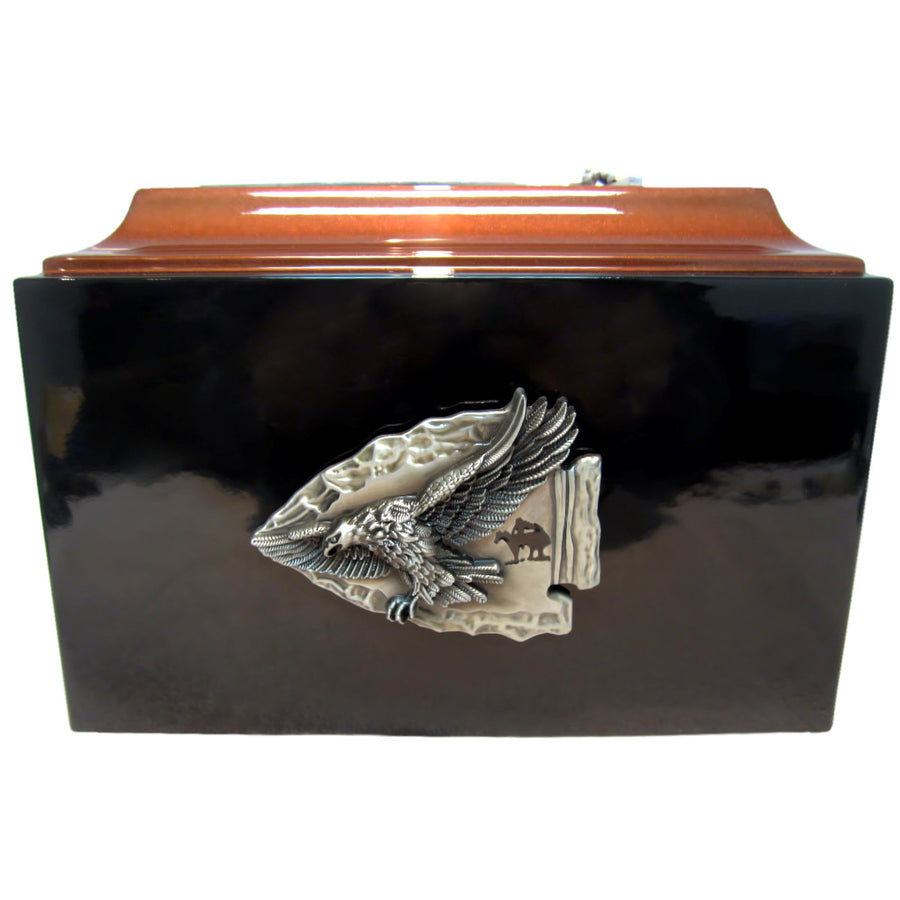 Arrowhead Fiberglass Box Cremation Urn Shown with 3D Solid Metal Medallion - 845