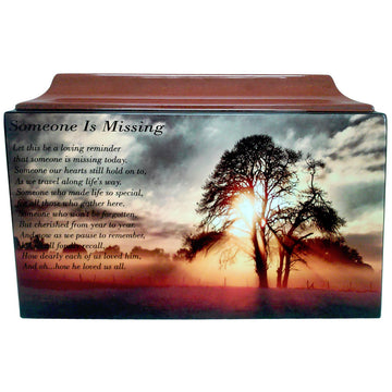 Sunset 'Someone is Missing' Fiberglass Box Cremation Urn - 610