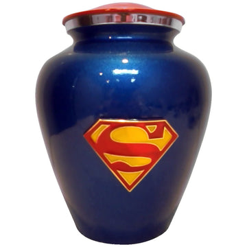 Superman Blue and Red Niche Cremation Urn Shown with Custom Metal Plate - 820