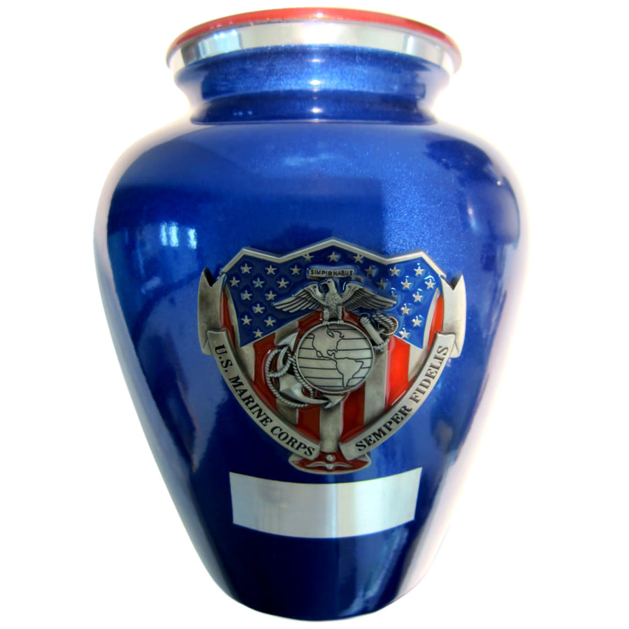 US Marine Corps Niche Cremation Urn Shown with 3D Solid Metal Medallion and 1