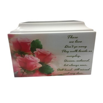Pink Floral Fiberglass Box Cremation Urn Shown with Oversized Nameplate - 839