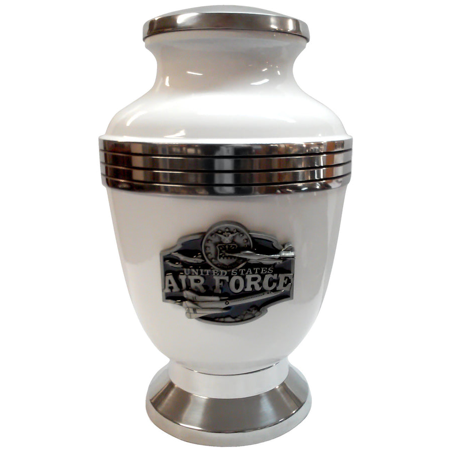 White Air Force Jets 3-Ring Aluminum Cremation Urn Shown with 3D Solid Metal Medallion - 425