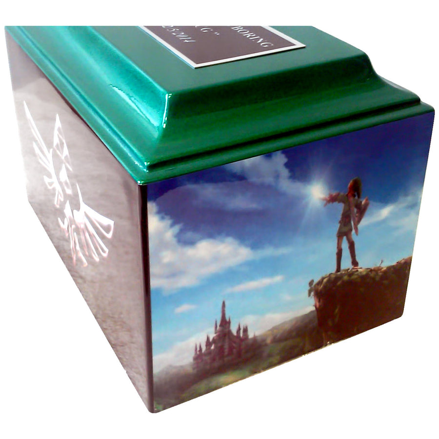 Zelda Fiberglass Box Cremation Urn Shown with Oversized Nameplate - 862