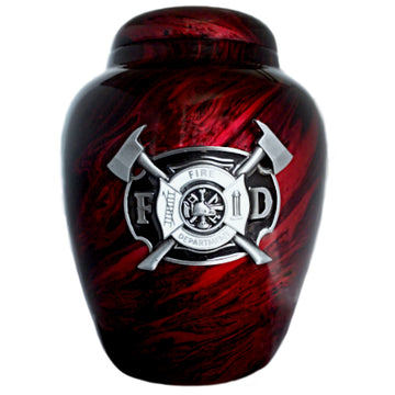 Marbled Red Firemen Classic Vase Cremation Urn Shown with 3D Solid Metal Medallion  - 933