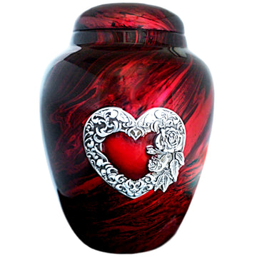 Marbled Red Heart Classic Vase Cremation Urn Shown with 3D Solid Metal Medallion- 935