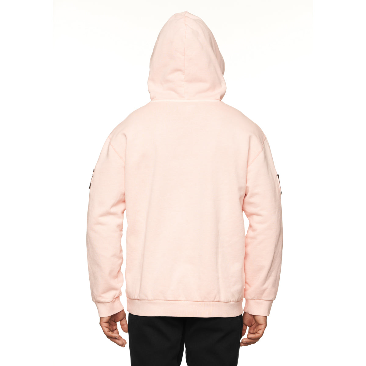 0302. Garment-Dyed Patch Hoodie - Faded Pink