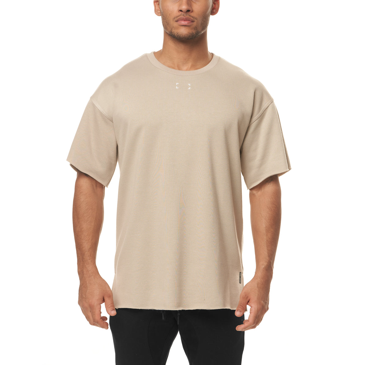 0339. French Terry Oversized Tee - Sand Smoke