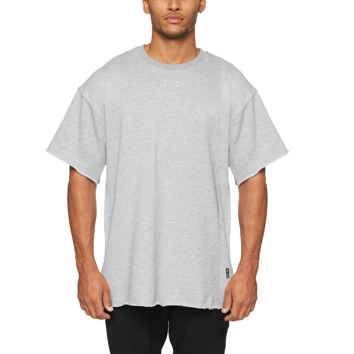 0339. French Terry Oversized Tee - Heather Grey