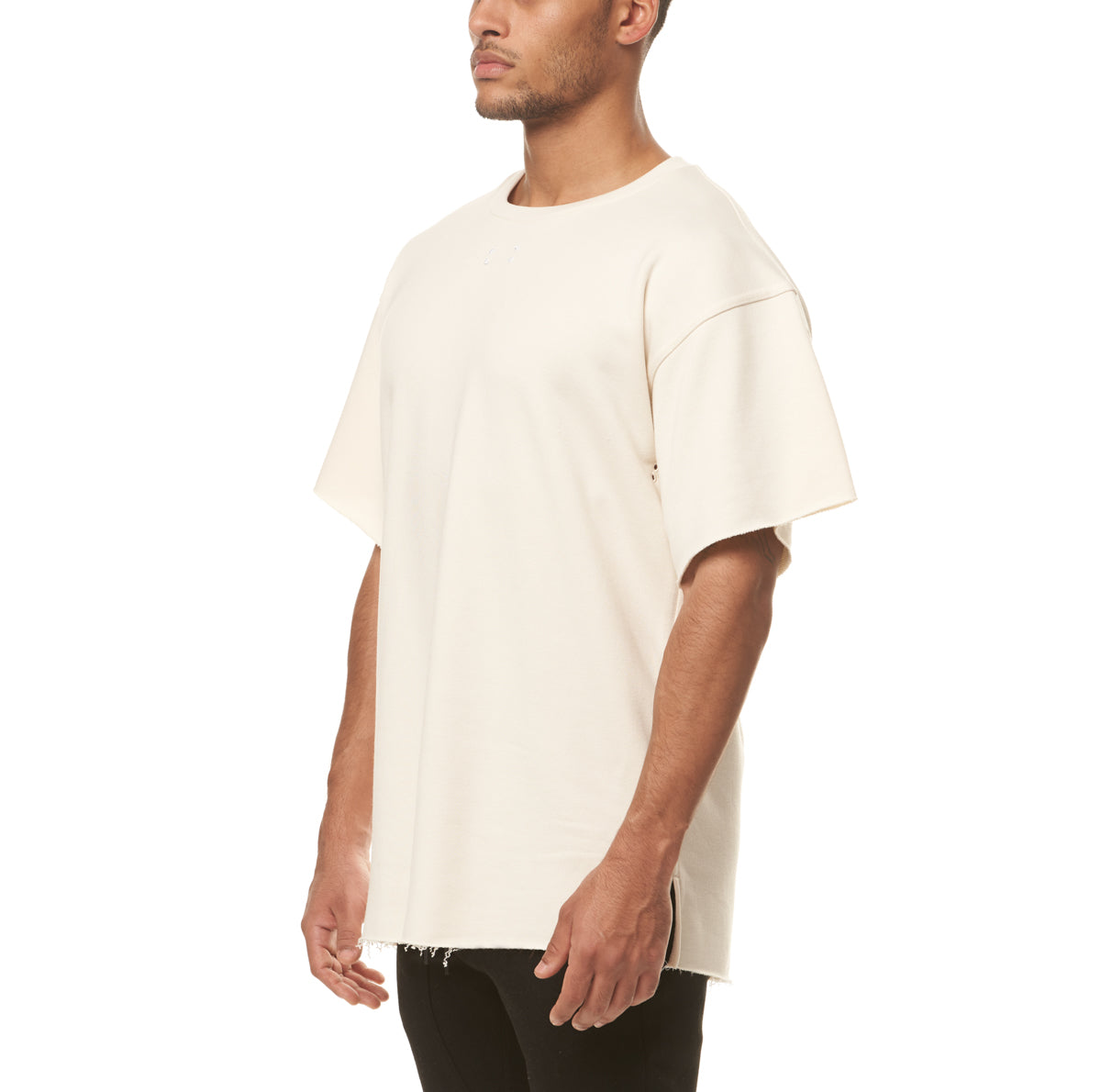 0339. French Terry Oversized Tee - Ivory Cream