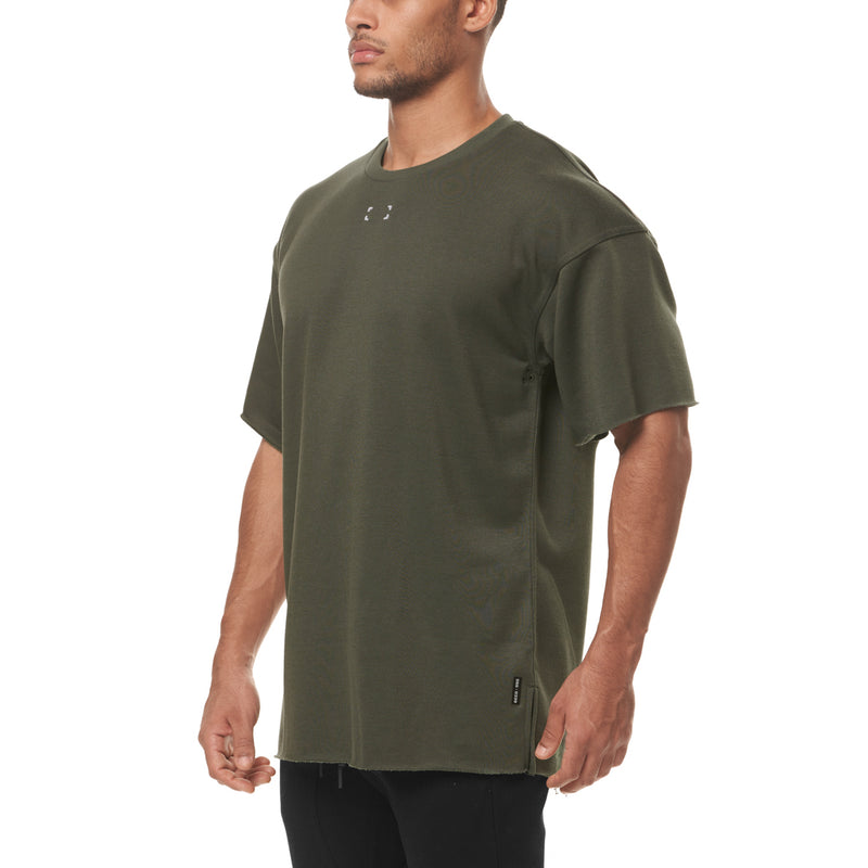 0339. French Terry Oversized Tee - Olive