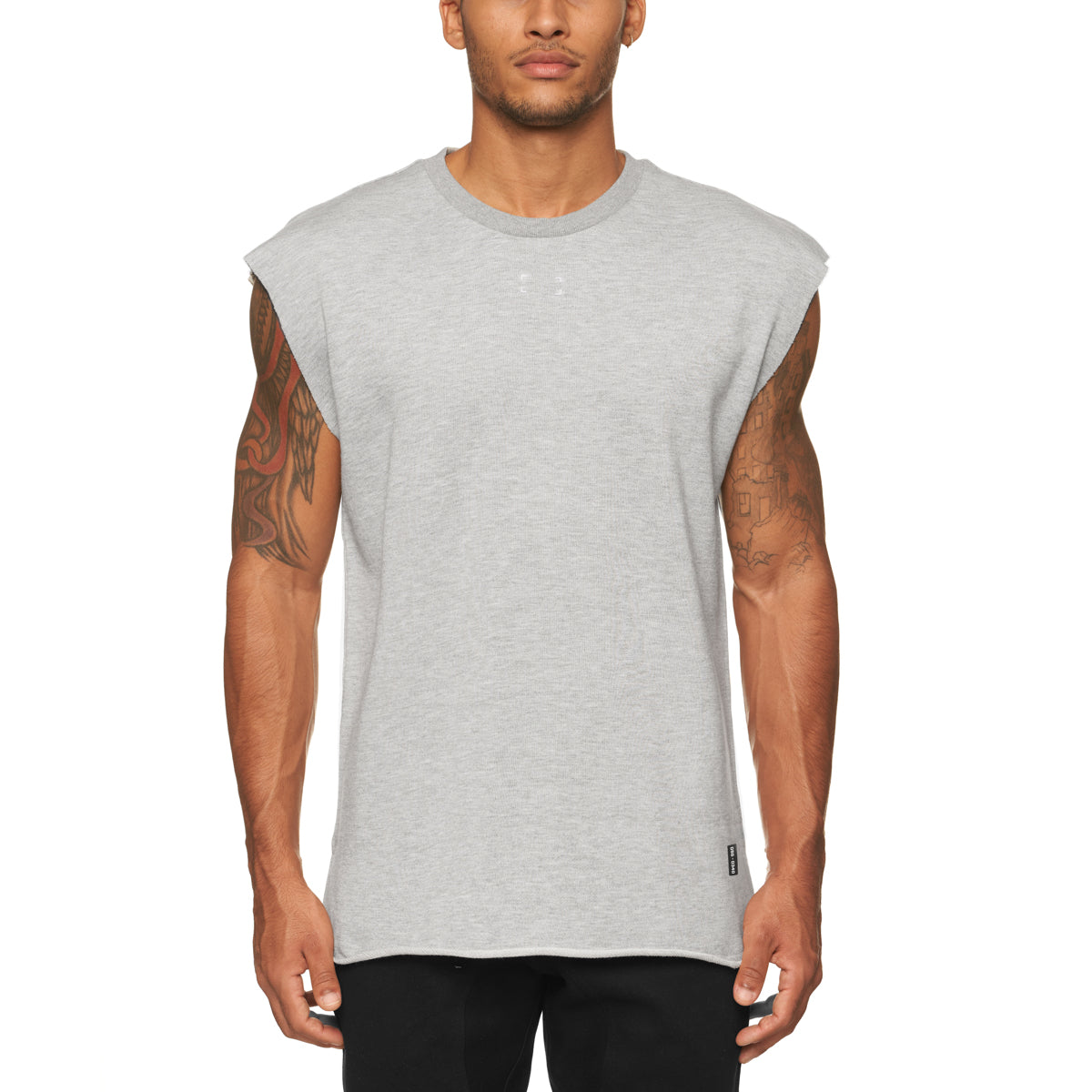 0340. French Terry Oversized Cutoff - Heather Grey