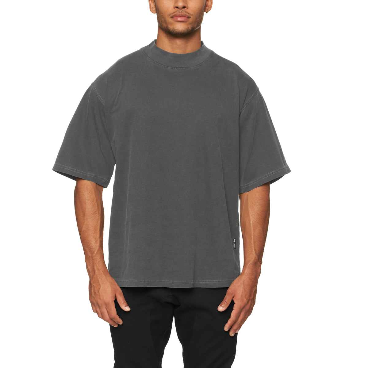 0385. CottonPlus™ Oversized Mock Neck Tee - Faded Grey