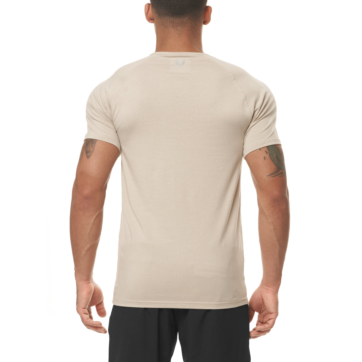 0396. Supima® Fitted Tee - Sand Smoke