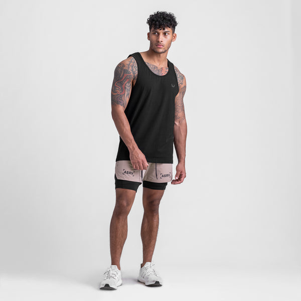 0408. Supima® Mesh Panel Tank Top - Black