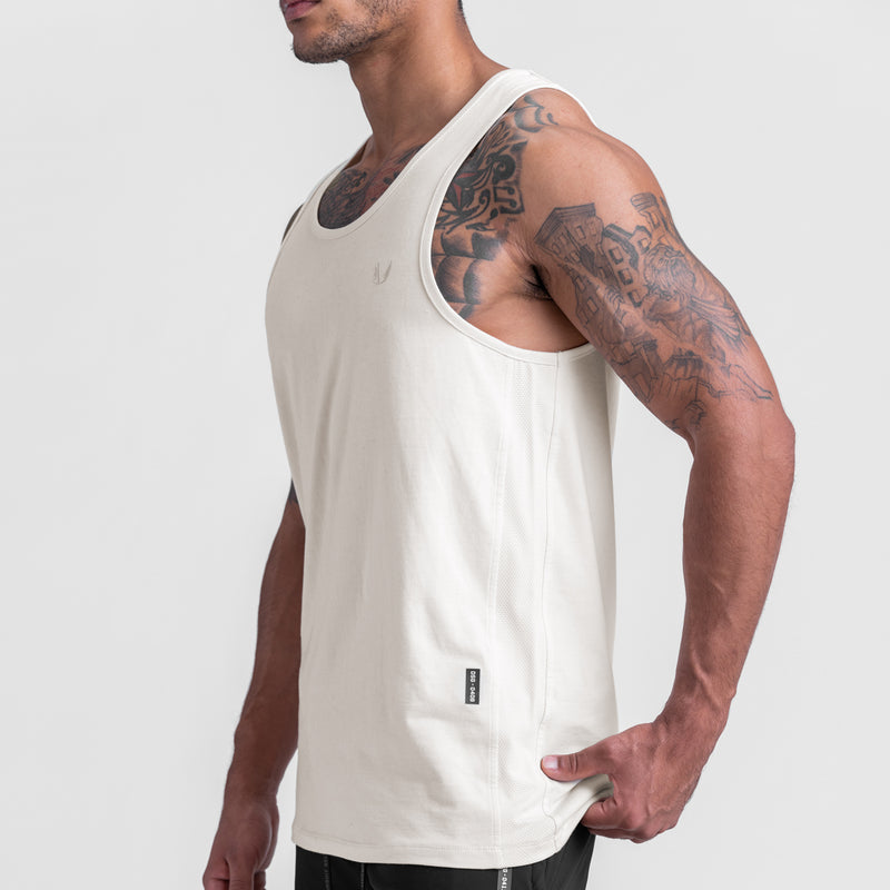 0408. Supima® Mesh Panel Tank Top - Ivory Cream