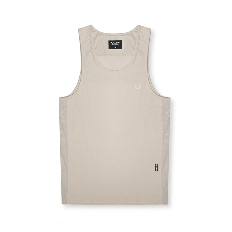 0408. Supima® Mesh Panel Tank Top - Sand Smoke