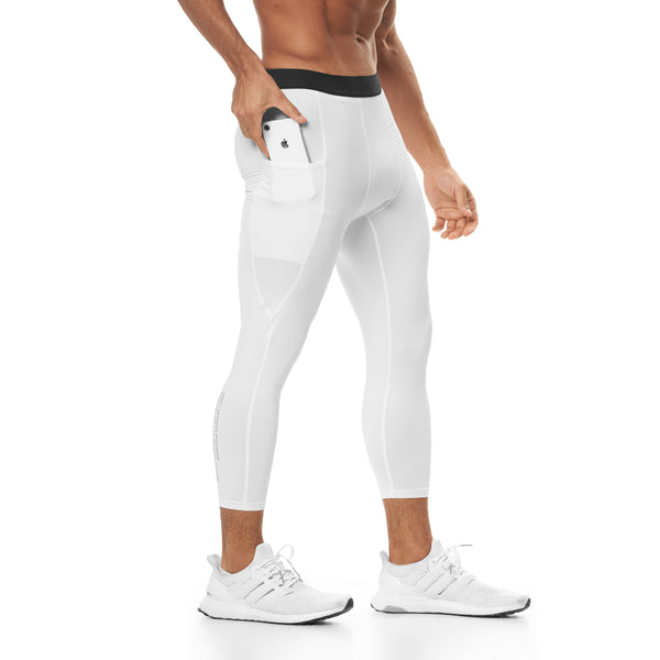 0267. SilverPlus® 3/4 Side Pocket Baselayer Legging - White
