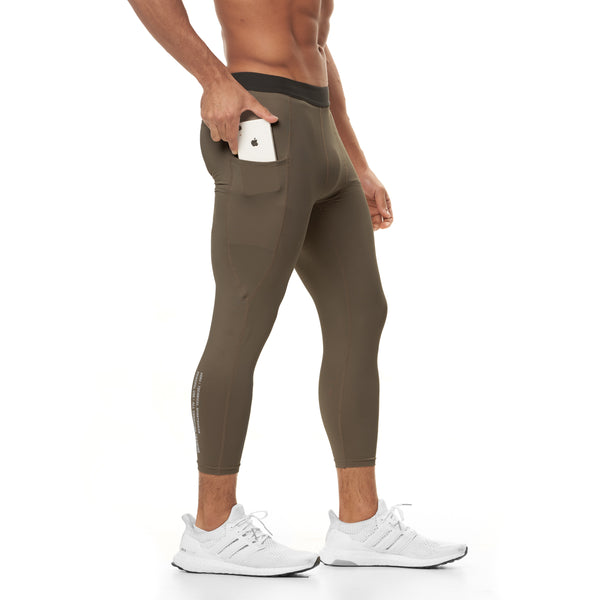 0267. SilverPlus® 3/4 Side Pocket Baselayer Legging - Deep Taupe