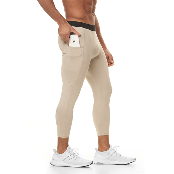 0267. SilverPlus® 3/4 Side Pocket Baselayer Legging - Sand Smoke
