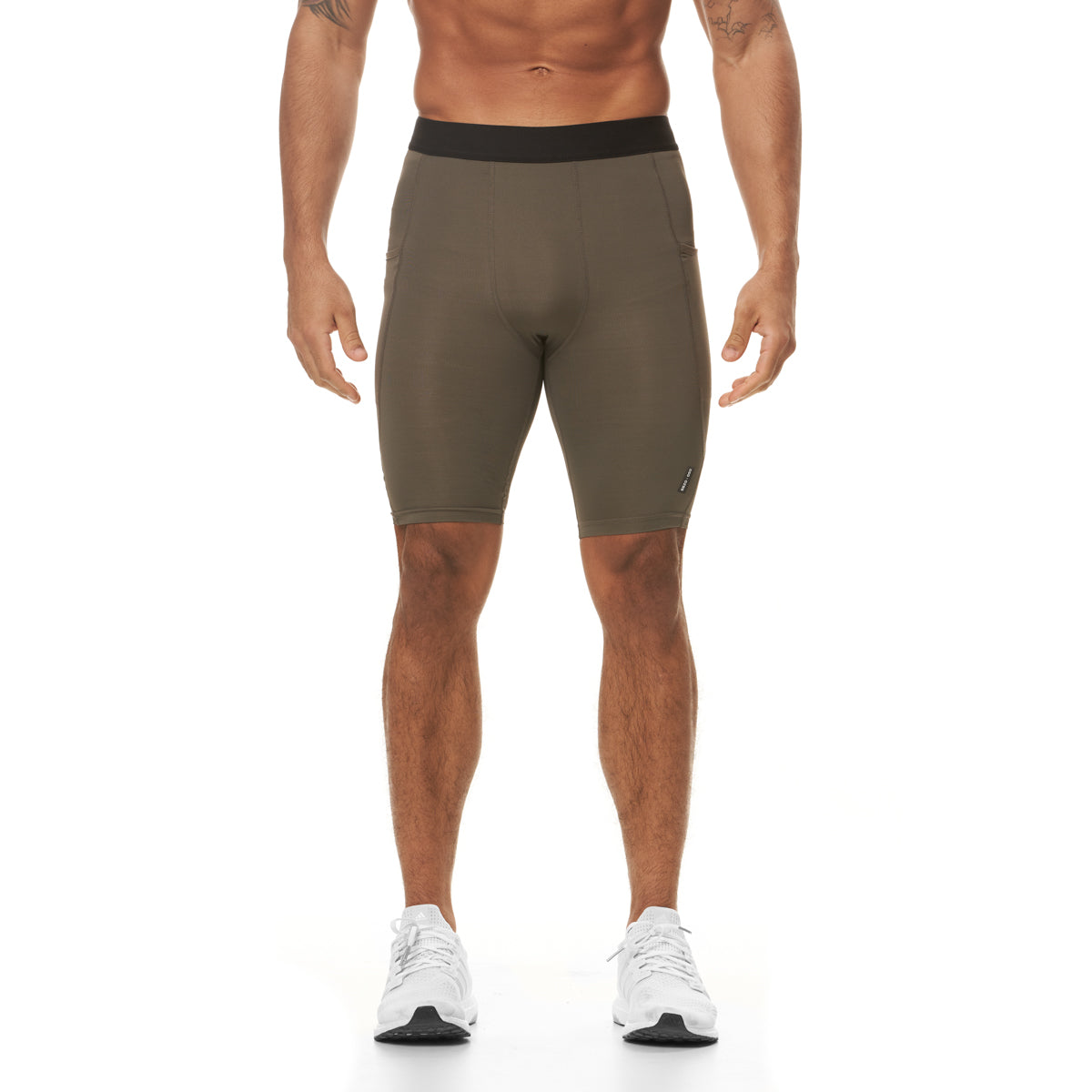 0286. Creora® Side Pocket Compression Short - Deep Taupe