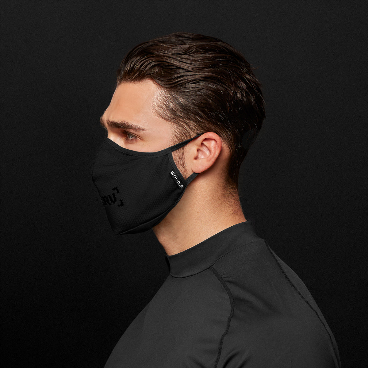0378. Polygiene® Form-Fitting Face Mask (Pack of 2) - Black/Black