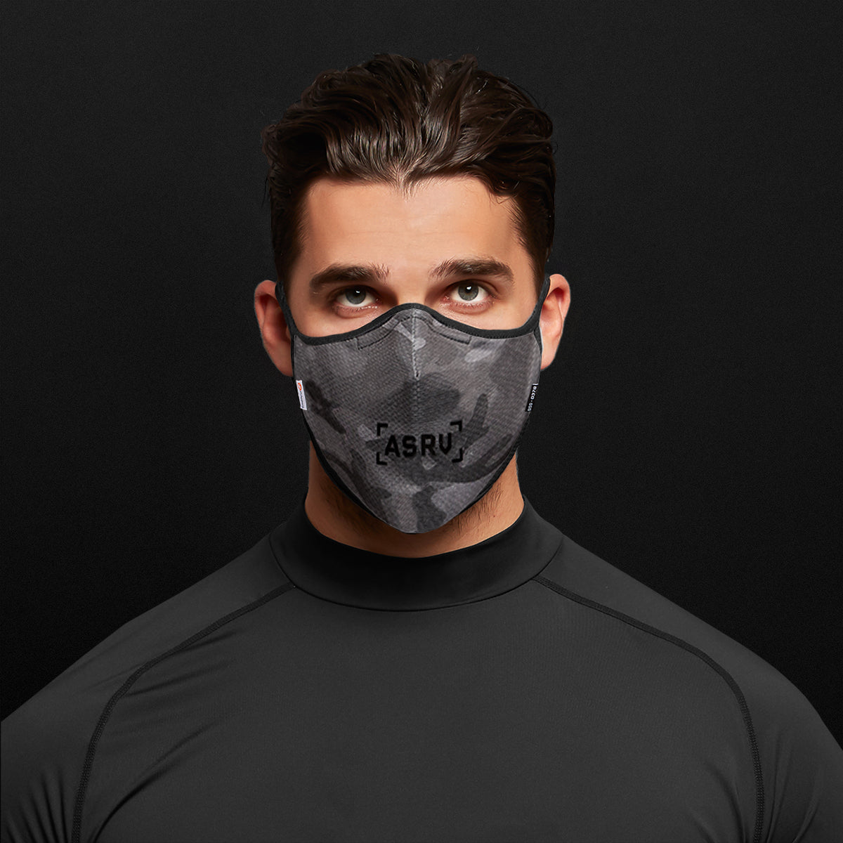 0378. Polygiene® Form-Fitting Face Mask (Pack of 2) - Black Camo