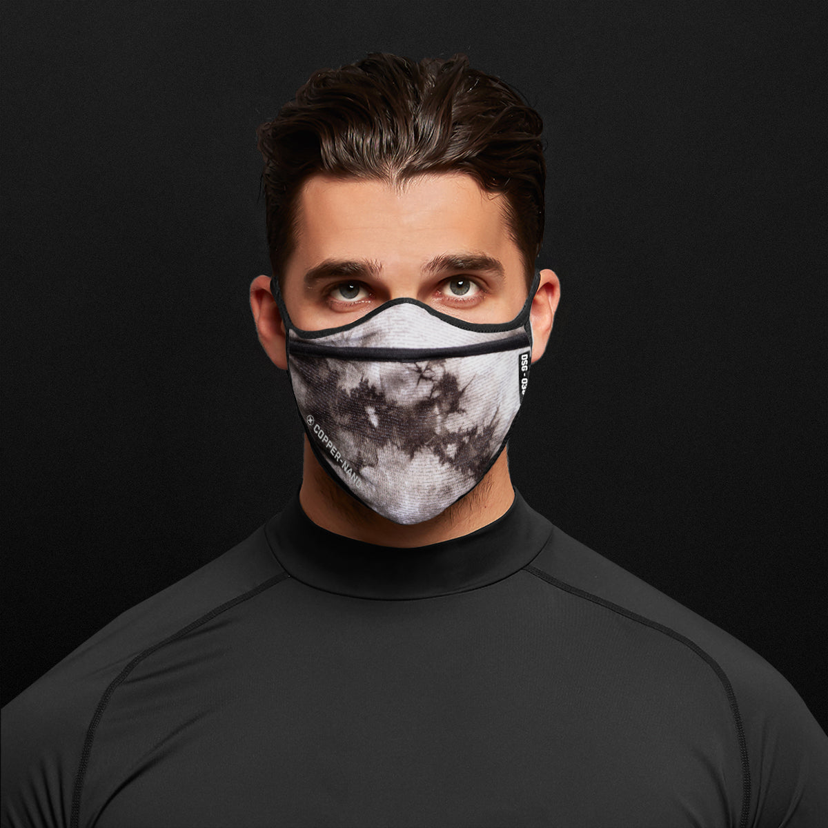 0384. Copper-Nano Tri-Fold Face Mask (with Bag) - Maroon Tie Dye