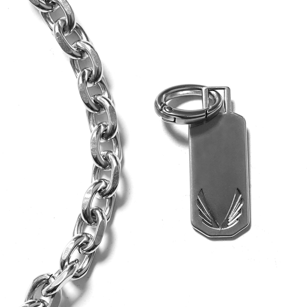 Bold Chain Necklace with Dog Tag - Stainless Steel