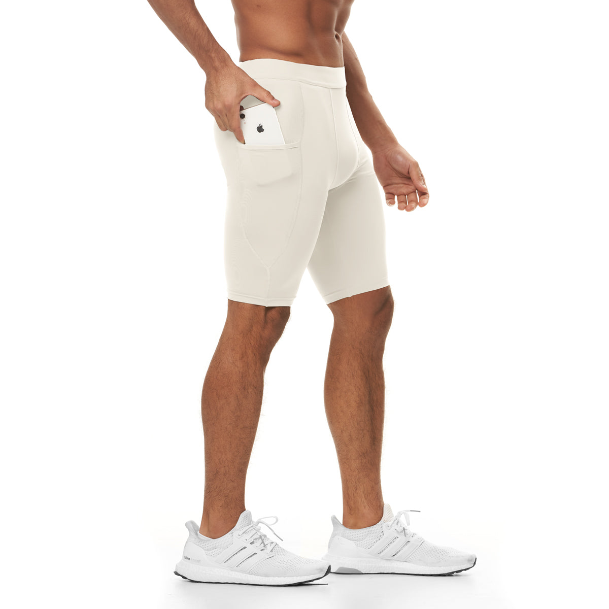 0286. Reflexx® Side Pocket Performance Short - Ivory Cream
