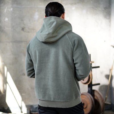 0234. Garment-Dyed Reverse Weave Hoodie - Olive