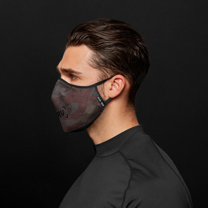 0378. Polygiene® Form-Fitting Face Mask (Pack of 2) - Dark Camo