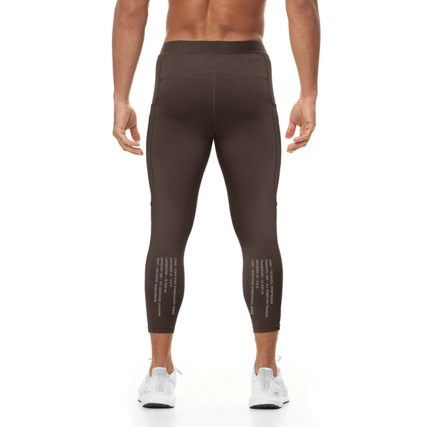 0267. Reflexx® 3/4 Side Pocket Performance Legging - Dark Earth