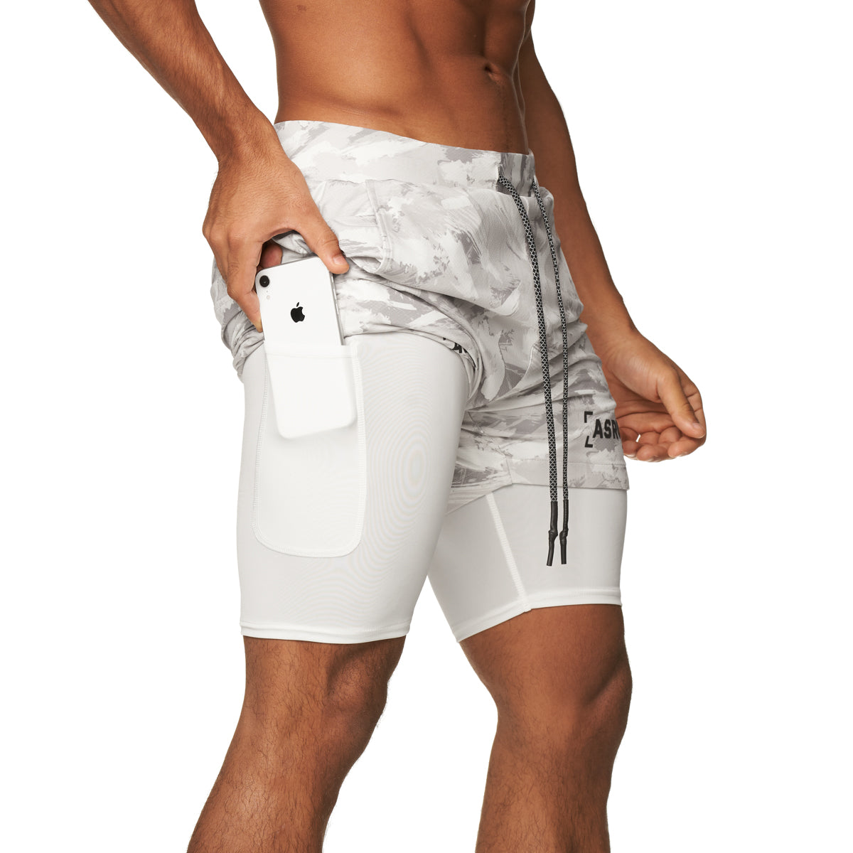 "0222. Silver-Lite® 5"" Liner Short - White Brushed Camo"