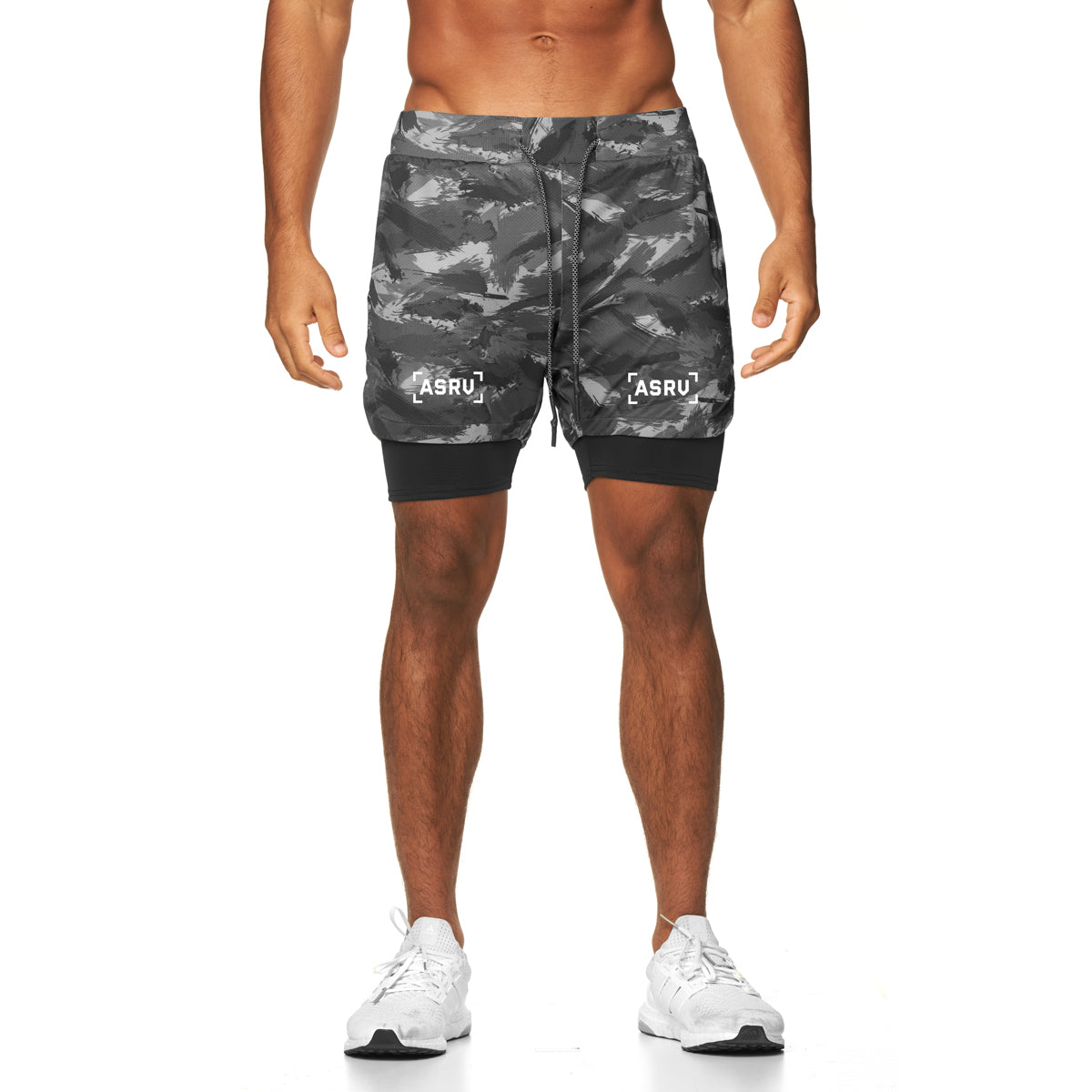 "0222. Silver-Lite® 5"" Liner Short - Black Brushed Camo"