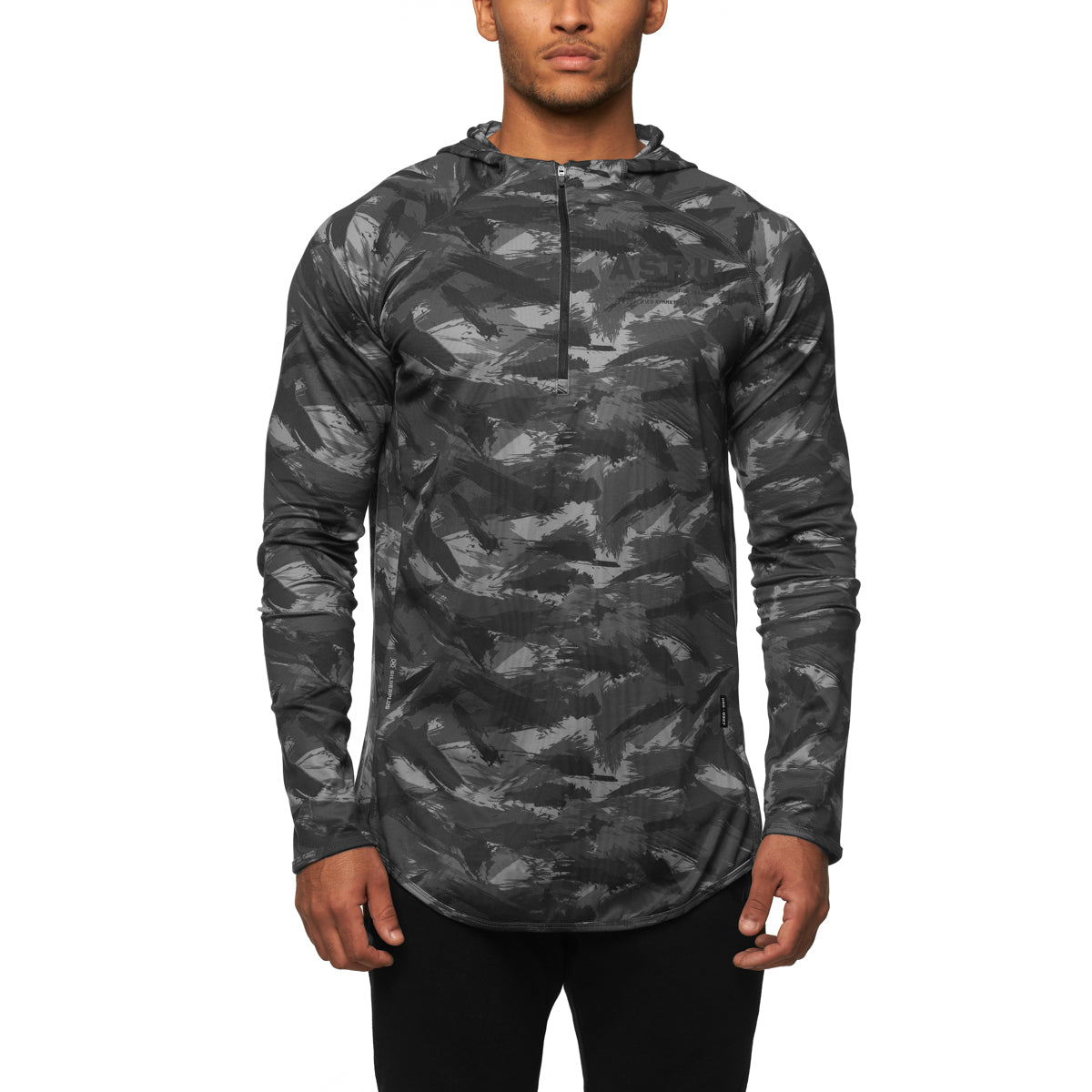 0327. SilverPlus® Fitted Hoodie - Black Brushed Camo