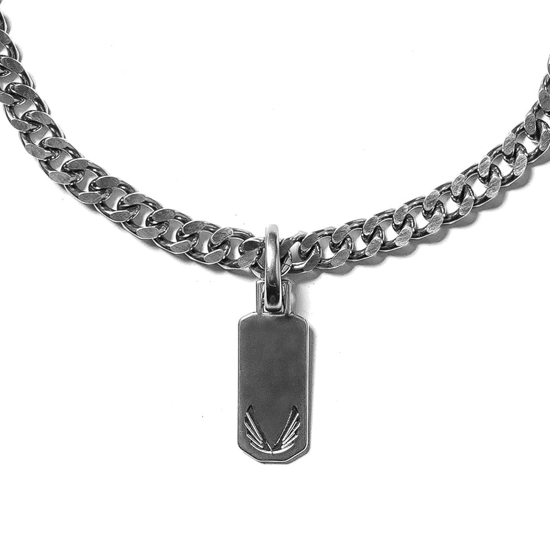 Curb Link Necklace with Dog Tag - Stainless Steel
